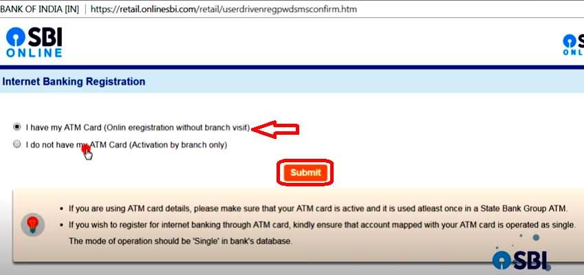 internet banking sbi registration