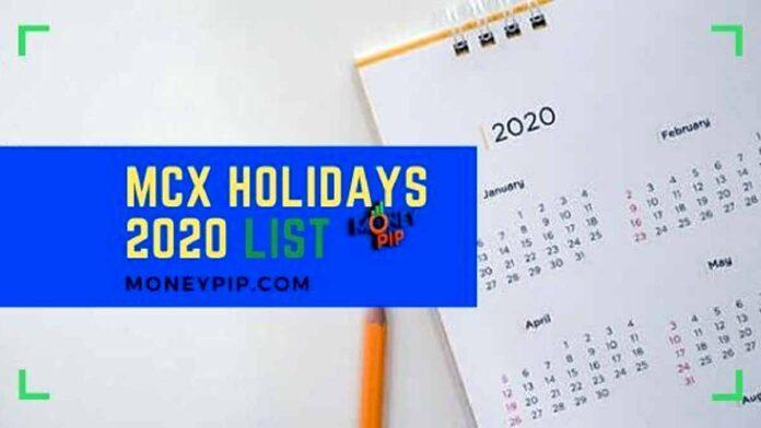 MCX Holidays 2020 List
