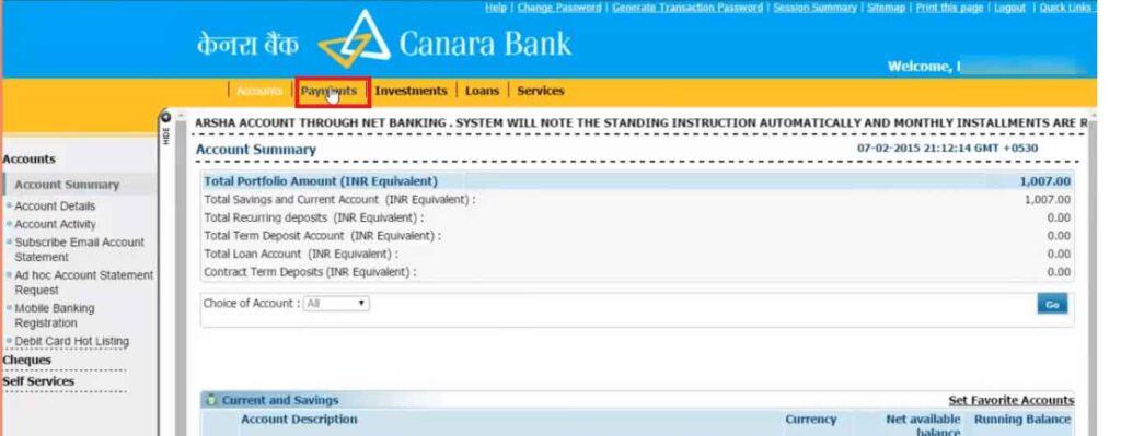 add beneficiary in Canara Bank Netbanking