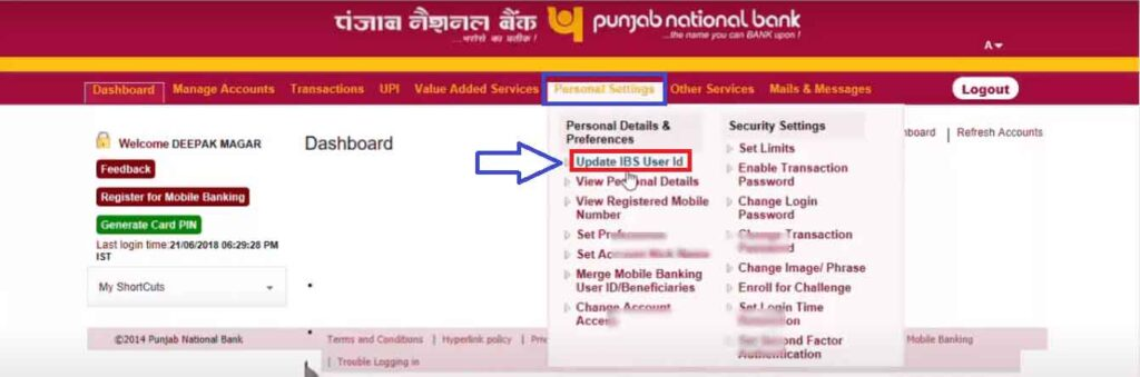 Change PNB NetBanking User ID