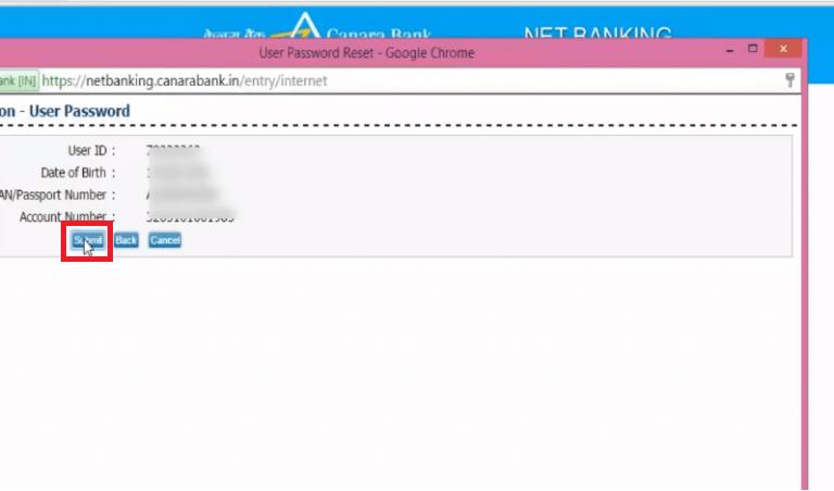 Reset Canara Net Banking Password