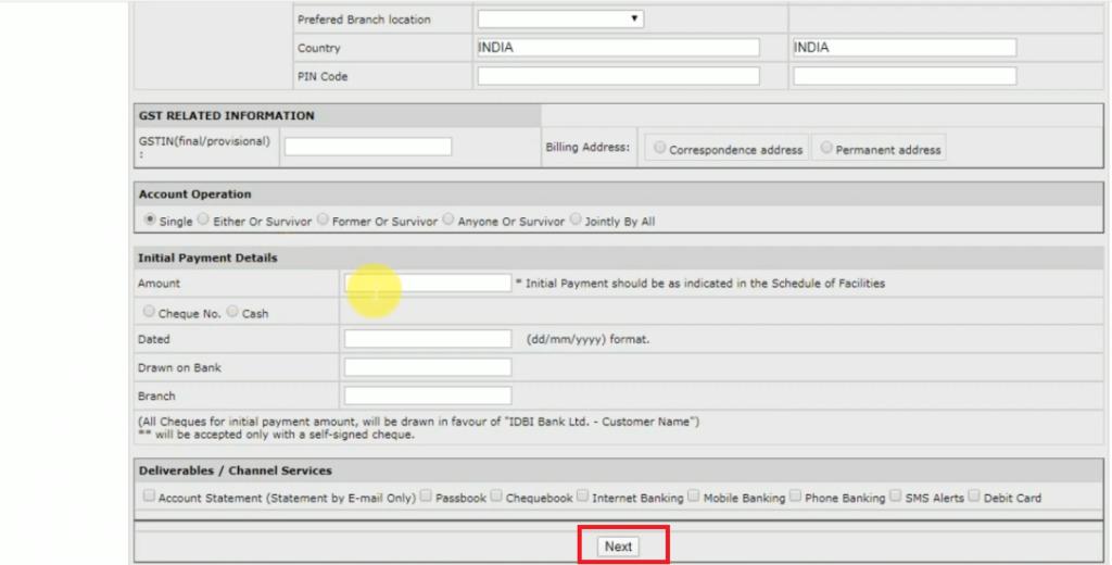IDBI Zero Balance Saving Account Open 10