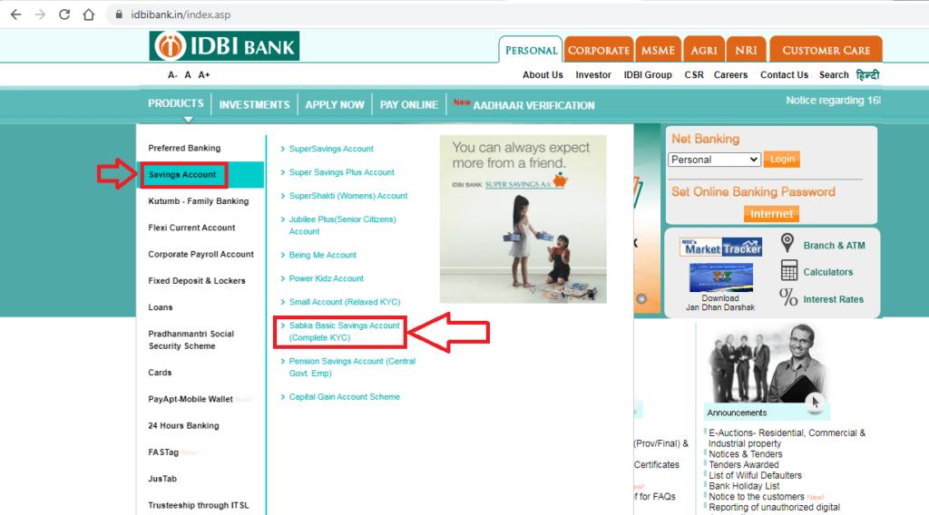IDBI Zero Balance Saving Account Open 4