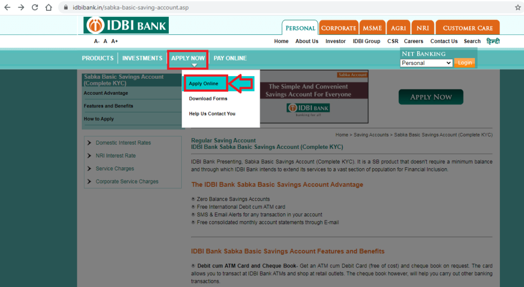 IDBI Zero Balance Saving Account Open 5