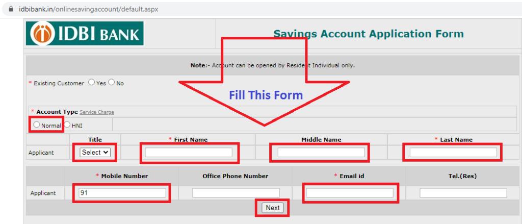 IDBI Zero Balance Saving Account Open 8