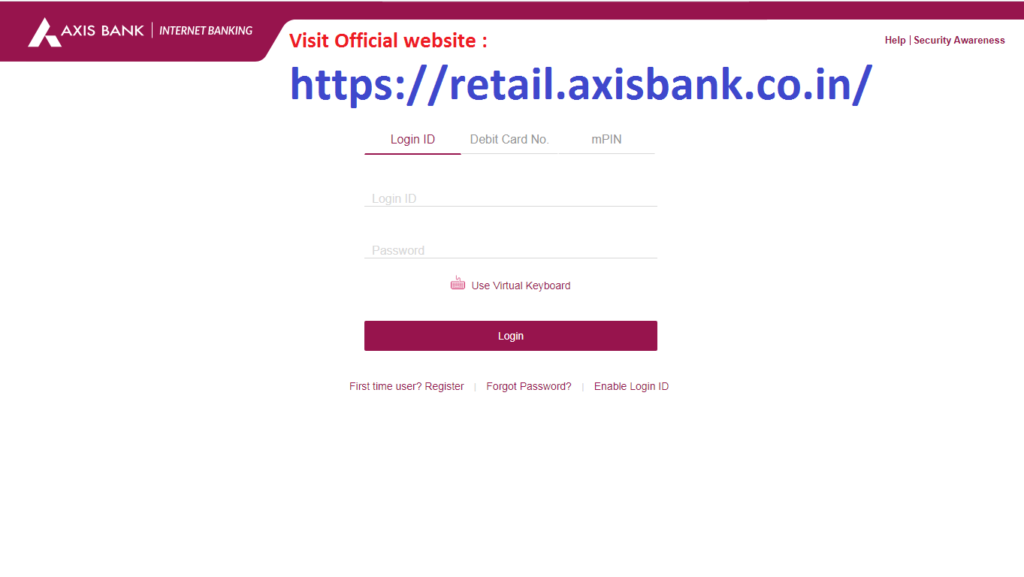 Axis Net Banking Register 1