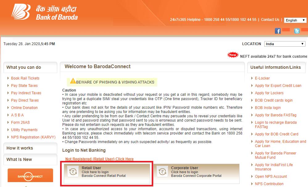 BOB Net Banking Login 2