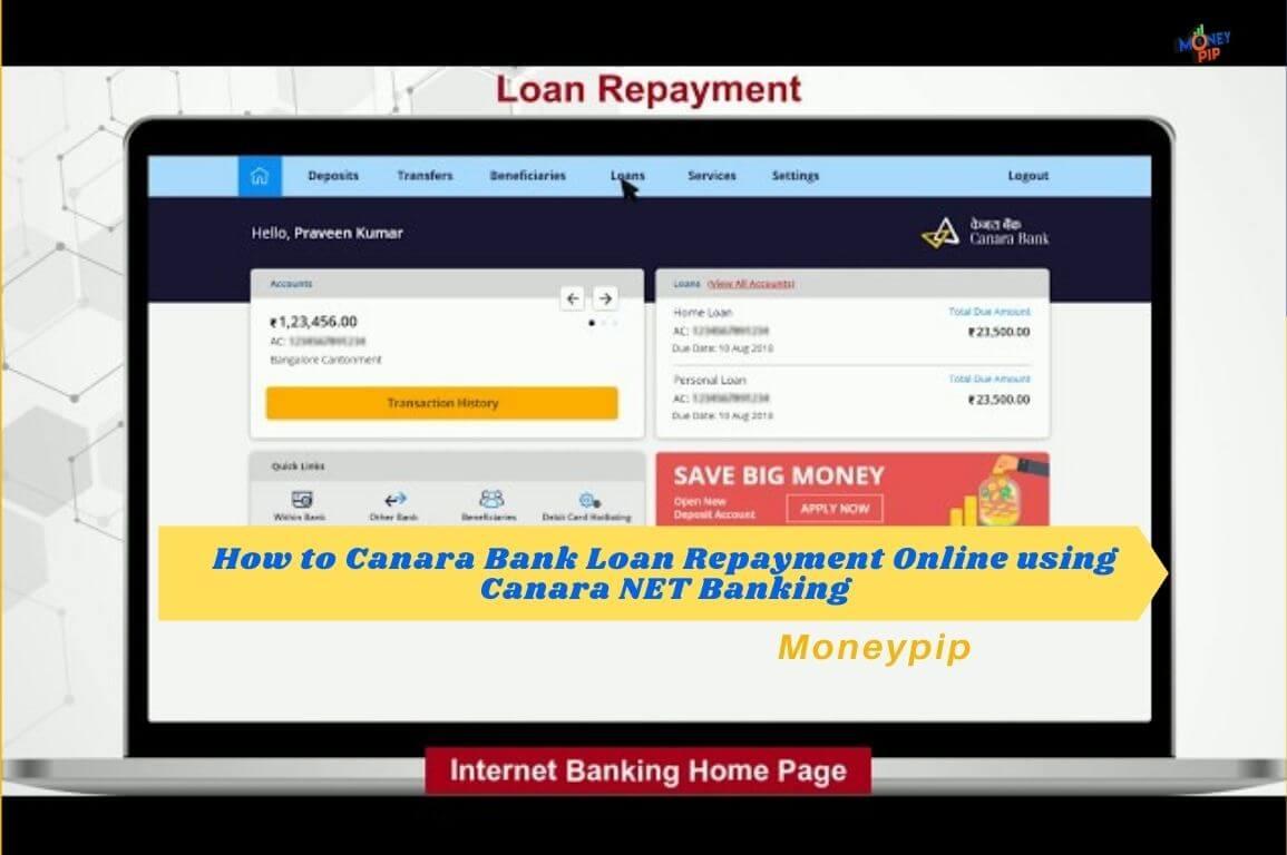 Loan Repayment Online using Canara NET Banking