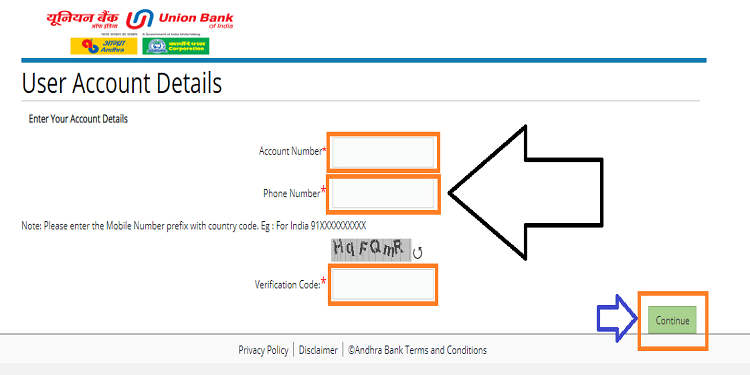 Andhra Bank Net Banking Forget User Id?