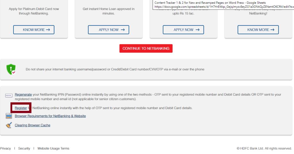 hdfc netbanking register 1