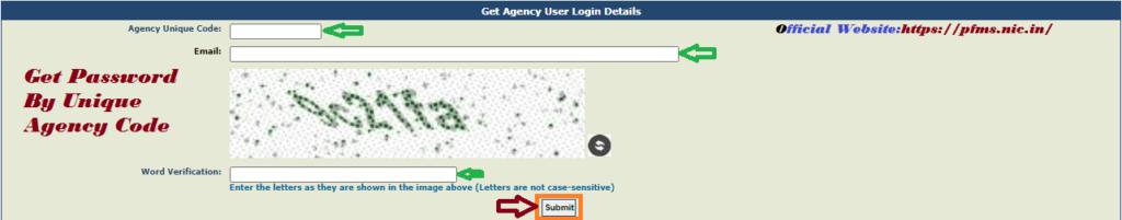 Get PFMS Password By Unique Agency Code