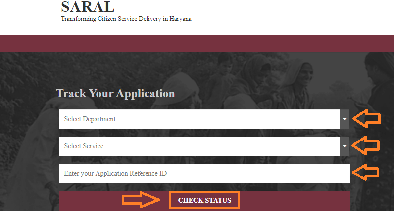 Track-Application Online in Saral Haryana