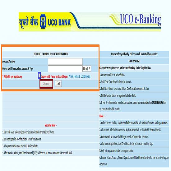 UCO Bank Net Banking Registration3